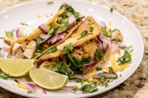 Blackened Chicken Tacos with Cilantro Cream Sauce