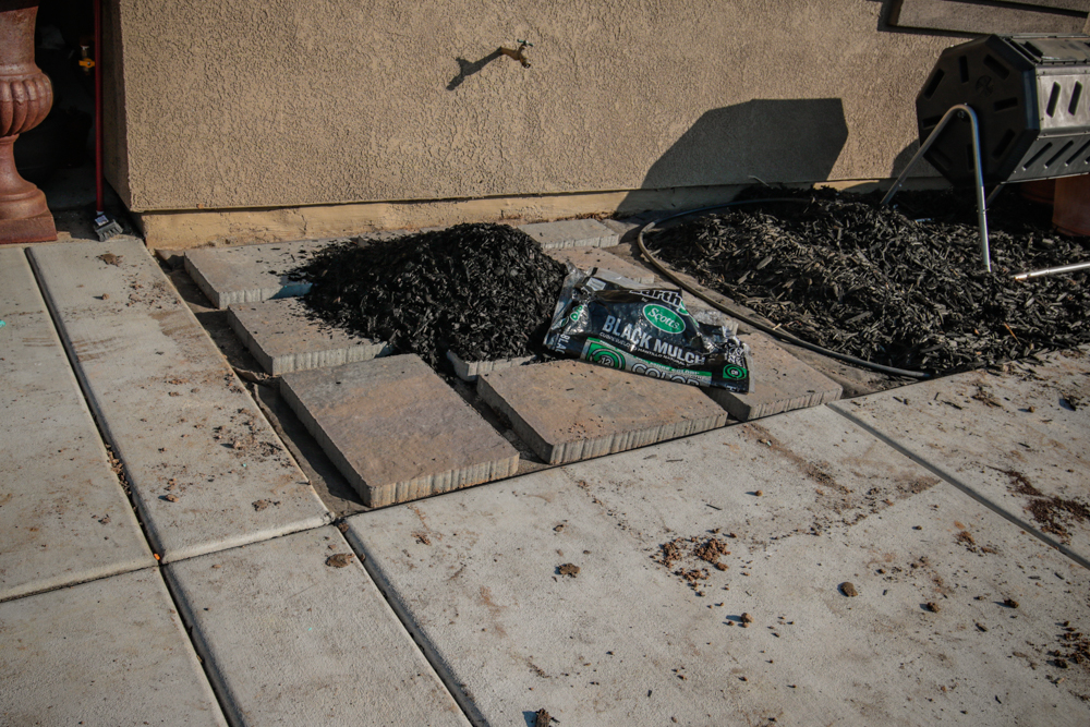 DIY Paver Stone Steps - Laying Bark/ Mulch Down