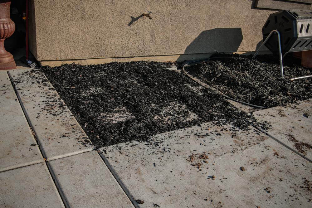 DIY Paver Stone Steps - Spreading the Bark/ Mulch