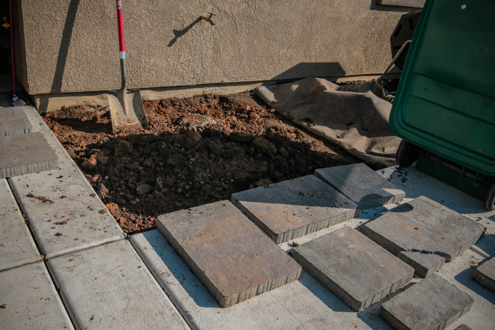 DIY Paver Stone Steps -Removing the Rocks